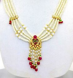 REAL RUBY PEARL EMERALD 22 K YELLOW GOLD PENDANT NECKLACE SET WITH EARRING PAIR