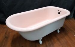 Vintage Pink And White Standard Size Restored Cast Iron Claw Foot Bath Tub