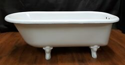 Vintage And Restored White 5 Foot Free Standing Cast Iron Bath Tub