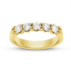 0.78 Ct. Natural Diamond Five Stone Wedding Band In Solid 18k Yellow Gold