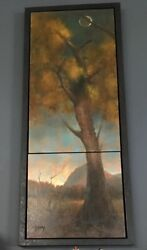 Joshua Smith Signed Original Oil Diptych 2 Panel Painting On Canvas 57x23 Large