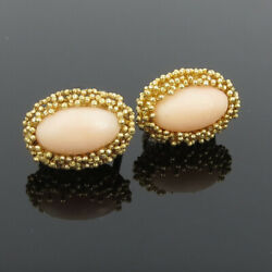 Vintage Italian Natural Pink Coral And 18k Yellow Gold Hand Made Earrings