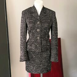 Versus By Gianni Versace Skirt Suit W/ Black And White Circles Dots Print Size 40