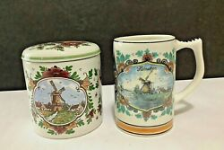 Pair Vtg Delfts Poly Holland Windmill Heineken Beer Stein Mug And Canister W/lid