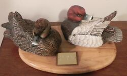 Vintage Red Head Pair Duck Decoys Donald Strunk Sr. SIGNED Wood Handcarved 1960s