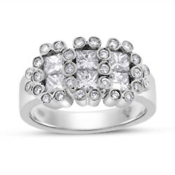1.52 Ct. Natural Diamond Floral Cocktail Dressy Ring In Solid 18k White Gold