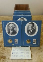 1986 Fleetwood 39 Presidential Medal And Stamp Collection Washington - Reagan Set