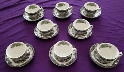 8 Johnson Brothers Friendly Village Cups And Saucers, England, Mint Condition