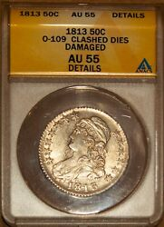 1813 Silver Capped Bust Half-dollar Au 55 Details Overton 109 Anacs 4419793