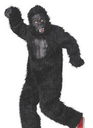 Brand New Youth Boys/girls Xl 16 Gorilla Costume Rubber Chest Face Fuzzy Funny