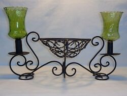 Vtg Antique Wrought Iron Candle Holder Spanish Revival Medieval Gothic Wedding