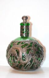 Antique Chinese Green Glass And Sterling Silver Dragon Decanter Bottle 6