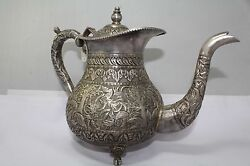 Traditional Handmade Antique Tea Pot Silver With Engraved Design Alloyed 80