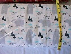 #402 New Flannel Fabric BTY ; 2 Yards (select size) Sketched Polar Bear trees