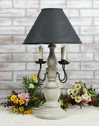 Katie's Large Liberty Table Lamp With Punched Tin Shade - 4 Arm - Country Colors