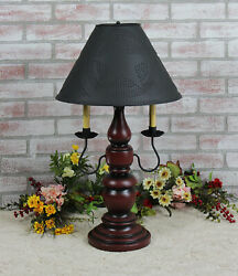 Katie's Large Liberty Table Lamp With Punched Tin Shade - 2 Arm - Country Colors