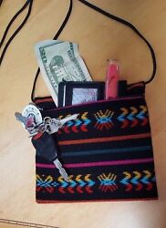 Black Crossbody bag woven multicolor Aztec lines Made in Mexico with Zipper $12.99
