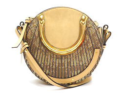 NWT Chloe Designer Pixie Round Sequin Gold Nude Metallic Crossbody Handle Bag