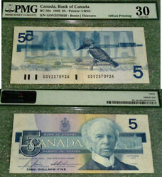Bank Of Canada - 1986 5 - Scarce Offset Printing Error - Pmg Certified