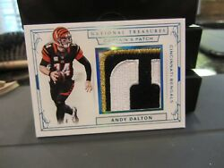 National Treasures Captainand039s Patch Jersey Bengals Andy Dalton 1/4 2016