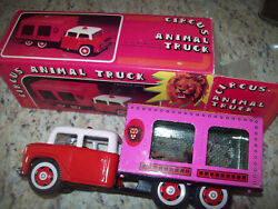 782 Circus Animal Truck Lion Tin Friction Toy Pink Complete Box Late 1970s Look