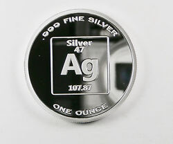 Pure Silver 1 Ounce 99.99 Fine Benchmark 1 Ounce Proof Element Design F2