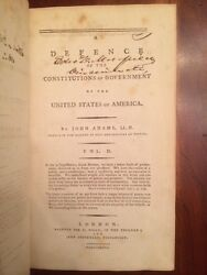 Very Rare 1787 John Adams 1st Ed. Defence Constitutions United States Government