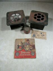 2 Antique 1920's Sterno Cook-stoves With Box Top Can And Postcard