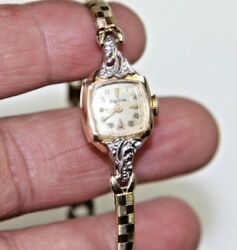 Antique Bulova Ladies Watch With Solid 14k Gold Case Casing Must See