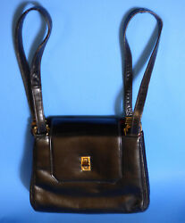 Vintage French bag shop New York Black Leather Handbag with Red change purse $49.99