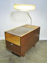 1950s George Nelson For Herman Miller Table Lamp With Glass Top And Single Drawer'