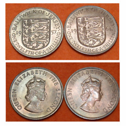 1957 And 1964 Bailiwick Of Jersey One Twelfth Of A Shilling Coin 1/12th Gems