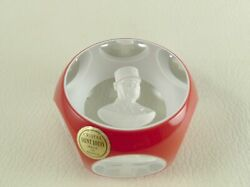 General De Gaulle By Saint Louis Cristal Sulphide Paperweight Red Overlay