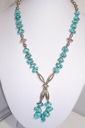 Unsigned Native American Nugget Turquoise Fine Necklace Sterling Silver Beads