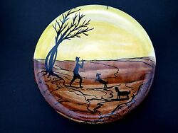 Vintage Israel Art Handmade Painted Pal Ceramic Plate Sheppard Collectible Gift