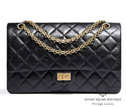 CHANEL BAG BLACK 2.55 REISSUE 227 DISTRESSED CALF LEATHER BAG GOLD GHW HARRODS X