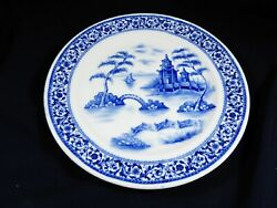 Vtg Buffalo China Hand Painted 9.25 Dinner Plate Blue Willow And Pagoda