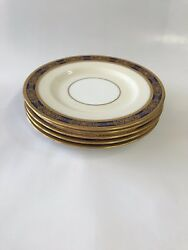 5 H4295 And Co. Minton Bone China Bread Plates 1962 Cobalt Blue W/ Gold
