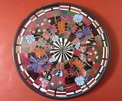 Stained Glass Mosaic Huge Bullseye Colorful Iridescent Flowers Wall Art Rare