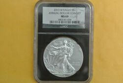 2013-w Burnished Silver Eagle Pcgs Ms69 Unc 2013 Annual Dollar Set Toning