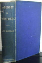 A Budget Of Paradoxes. A. De Morgan 1872 1st Ed. Signed By Edward Burnett Tylor