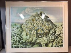Signed Framed Limited Edition Litho Print Of City Of David By Nahum Gilboa 1980