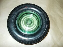Vintage Goodrich Tire Ashtray With Green Glass Embossed Insert