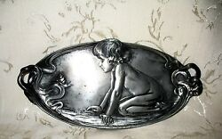 Art Nouveau Pewter Dresser Tray 10 7/8 Child And The Wonder In A Snail, 210