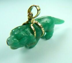 Colombian Carved Emerald Pendant 57.00 Cts Basset Hound Dog 18K Y Gold Muzo Rock