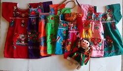Mexican Girls Peasant Puebla Embroidered On Dress Assorted Colors 3m-4t