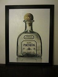 Patron Silver Premium Tequila Bottle 55 1/2 X 43 1/2 Framed Canvas Painting