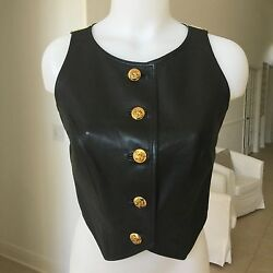 Istante By Gianni Versace Leather And Cotton Vest Chinese Emperor Print From 1993