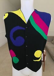 Gianni Versace Multi Colored Wool Sweater Men's Vest Size It 48 From Fw 1989/90