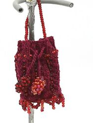 Antique Pattern Burgundy Purse For Antique Or Repro French German Doll